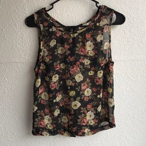 Floral Button Back Tank Top